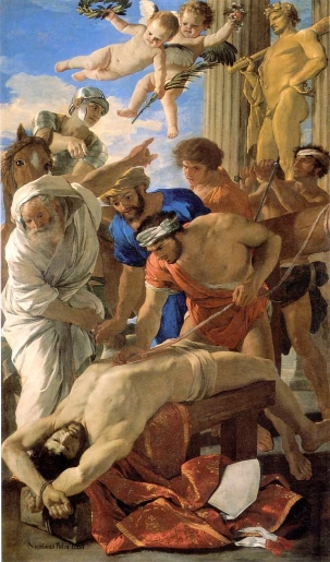 Nicholas Poussin, The Martyrdom of Saint Erasmus (1628).  Pinacoteca Vaticana, Vatican City.