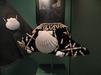 Pilgrim's Hat, felt, silk braid, shell, bone, jet (c. 1571).  This pilgrim's hat belongs to a set of pilgrim's garb (hat, cloak, and staff) once owned by Stephan Praun III.  It is currently on display at the Germanisches Nationalmuseum, Nuremberg, Germany.