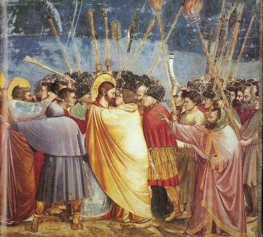Giotto Scrovegni, Kiss of Judas (courtesy Wikimedia Commons)