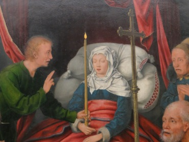 A traditional depiction of the Death of the Virgin (detail), Alte Pinakothek, Munich, Germany