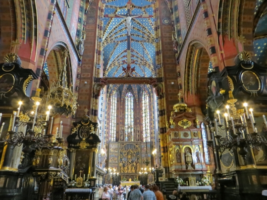 Interior of Saint Mary's Basilica, Krakow, Poland, with Veit Stoss's Saint Mary's Altar in background
