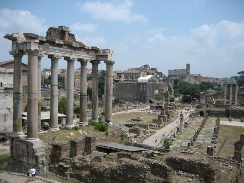 "View of the Roman Forum.  Palestrina's music has been called the ""soundtrack"" of Rome.  He composed over 100 masses and 250 motets here during his lifetime,"
