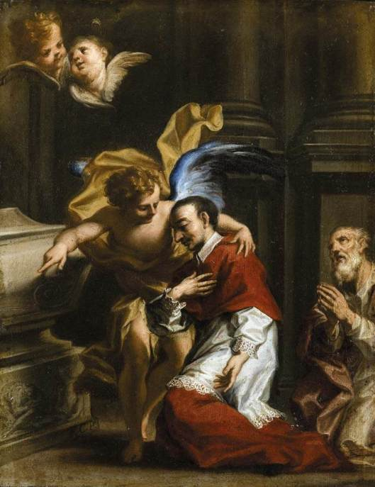 St Carlo Borromeo Tended by an Angel, by Francesco Caccianiga, oil on copper (early 18th century) (courtesy Wikimedia Commons)
