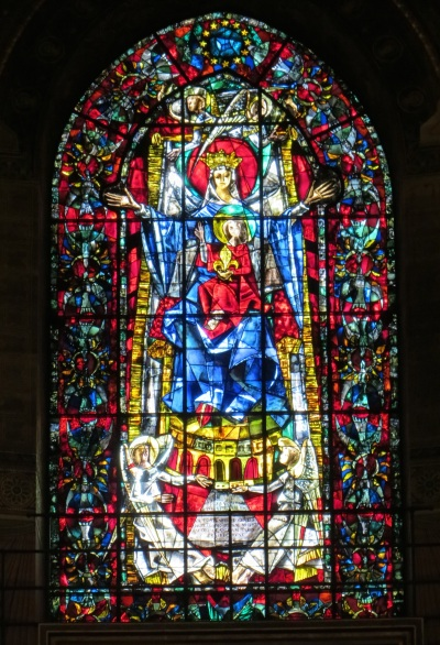 Madonna and Child, stained-glass window, Strasbourg Cathedral, Strasbourg, France.