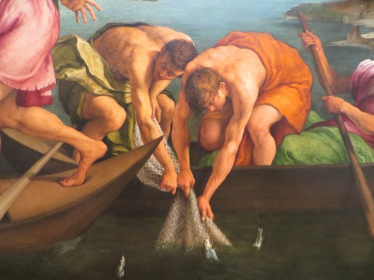 Miraculous Draught of Fishes (detail), Jacopo Bassano, oil on canvas (1545), National Gallery of Art, Washington, DC. Although this painting does not depict Saint Anthony's Sermon to the Fishes, I imagine the fish peeking their heads out of the water as in this painting of the miraculous catch of fish.