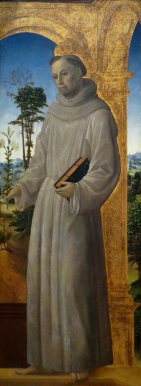 Saint Anthony of Padua, Vincenzo Foppa, oil (?) on panel (1495/1500).  Here, Saint Anthony carries two of his common attributes:  a white lily and a book.