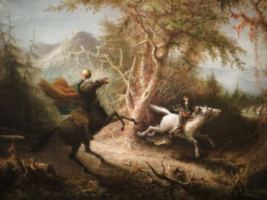 John Quidor, The Headless Horseman Pursuing Ichabod Crane, oil on canvas (1858), National Gallery of Art, Washington, D.C.