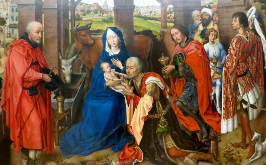Adoration of the Magi (panel detail), Columba Altarpiece, oil on oak (c. 1455), Alte Pinakothek, Munich, Germany.