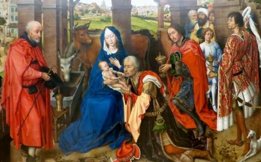 Adoration of the Magi (panel detail), Columba Altarpiece, oil on oak (c. 1455), Alte Pinakothek, Munich, Germany.