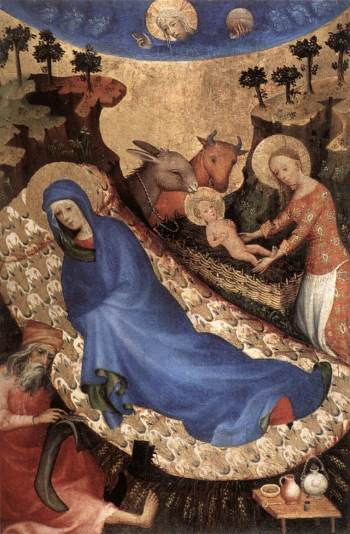 Joseph Malouel?, Nativity, oil on tempera (c. 1400), Museum Mayer van den Bergh, Antwerp, Belgium (courtesy Wikimedia Commons)