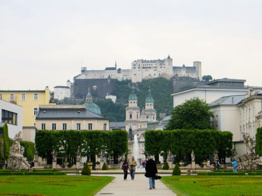 View of Hohensalzburg Castle from Mirabell Palace and Gardens, Salzburg, Austria