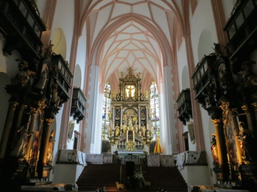 Parish Church of Saint Michael, Mondsee, Austria.  The high altar, which dates to 1626, is the work of Hans Waldburger.
