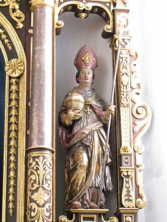 Statue of Saint Rupert, Saint Andreas Parish Church, Berchtesgaden, Austria