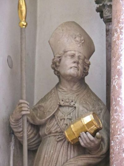 Statue of Saint Rupert (detail), Collegiate Church of Saint Peter and Saint John the Baptist (Stiftskirche St. Peter und Johannes der Taüfer), Berchtesgaden, Austria