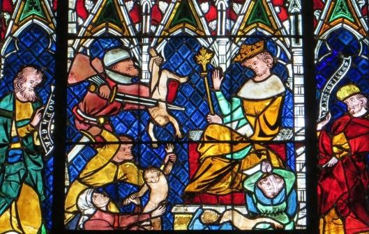 Killing of the Innocents, stained glass, Strasbourg Cathedral, Strasbourg, France.