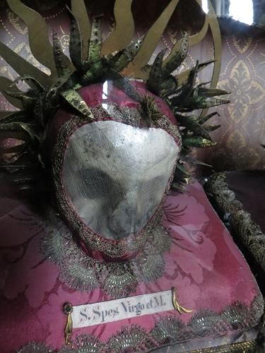 Skull of a Catacomb Saint, Waldauf Chapel, Pfarrkirche Sankt Nikolaus, Hall in Tirol, Austria